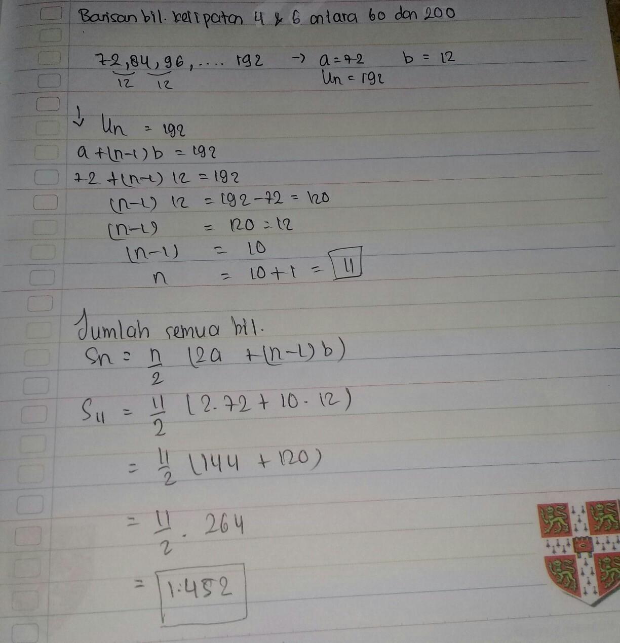 jumlah bilangan asli kelipatan 4 dan 6 antara 60 dan 200 ...