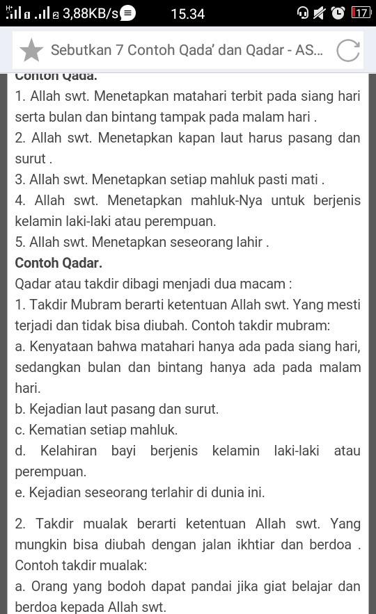 Sebutkan Contoh Qada Dan Qadar Allah Brainly Co Id