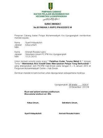 Contoh Surat Mandat Pimpinan Daerah Muhammadiyah Brainlycoid