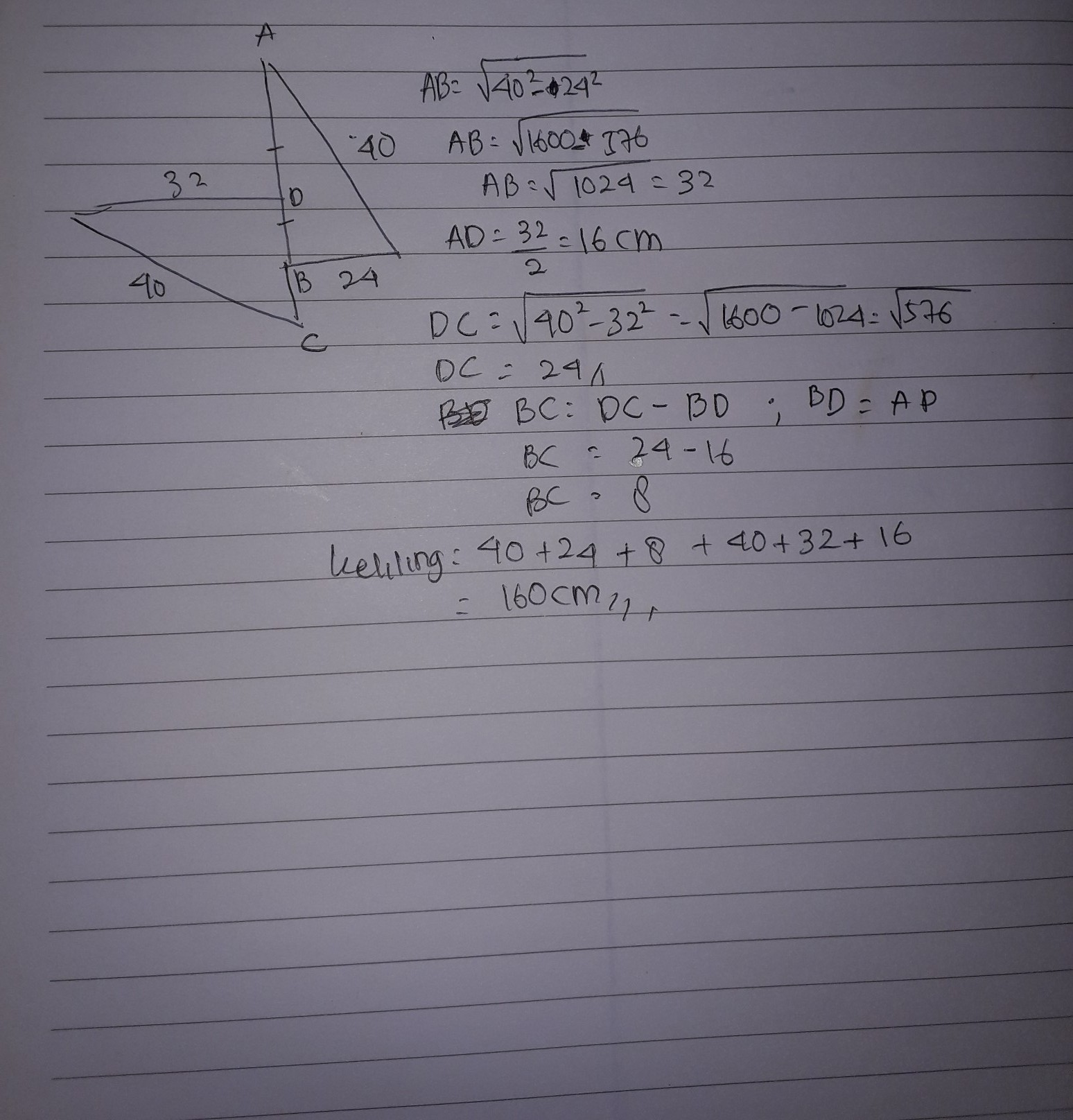 Pada gambar berikut, panjang FL = KD = 24 cm, FK = 8 cm ...