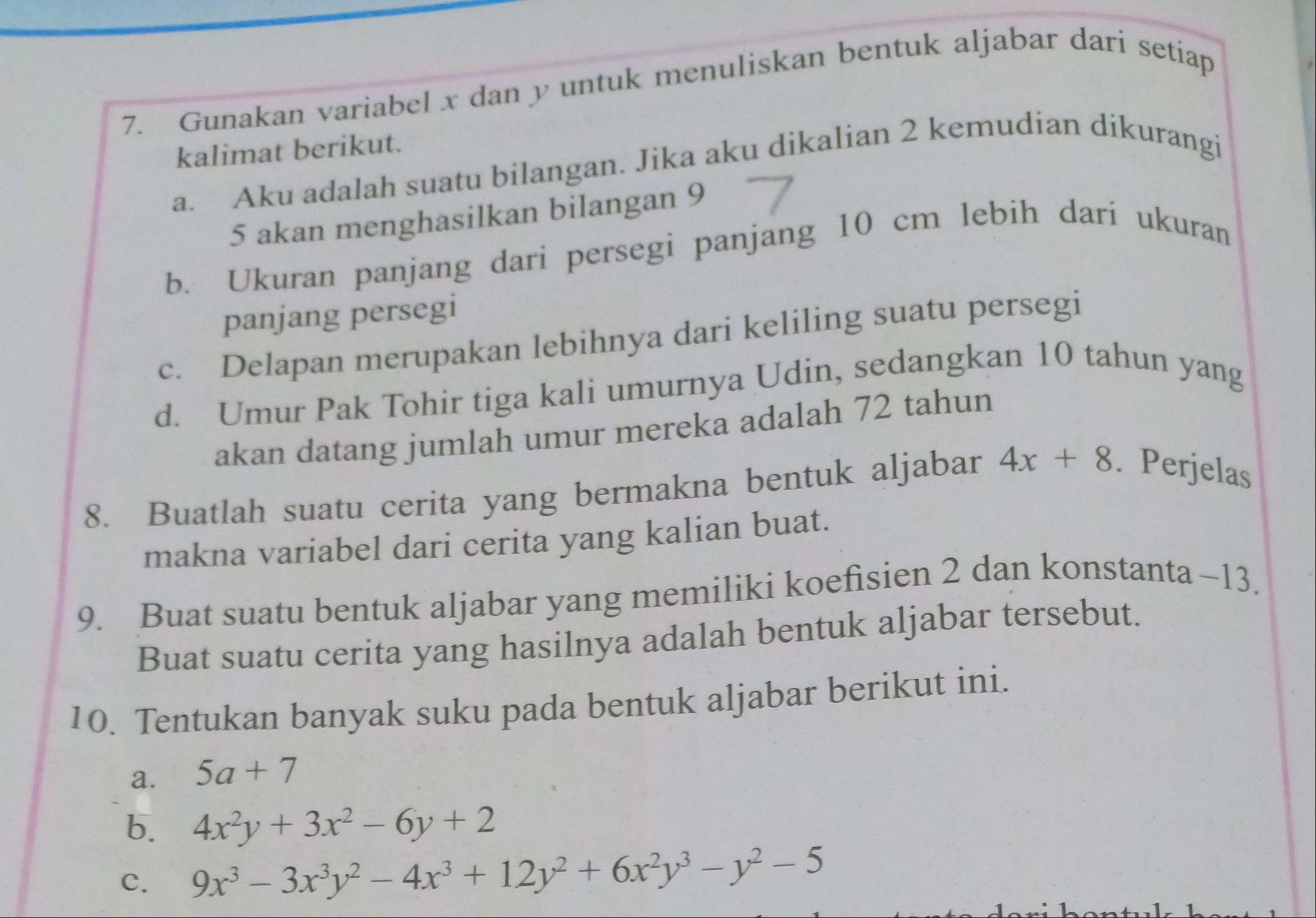 Matematika Kelas 7 Ayo Kita Berlatih 3 1 Hal 206 No 7 10 Brainly Co Id