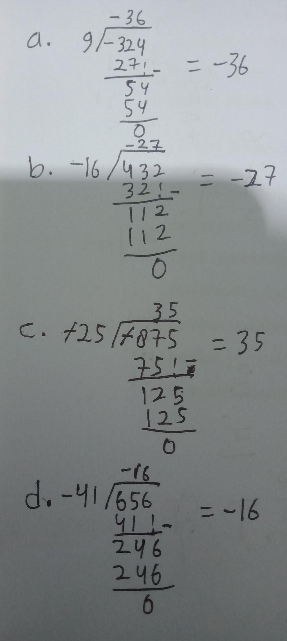 Tentukan Hasil Pembagian Bilangan Bulat Berikuta 324 9b 432 16 C 875 25 D 656 41 Brainly Co Id