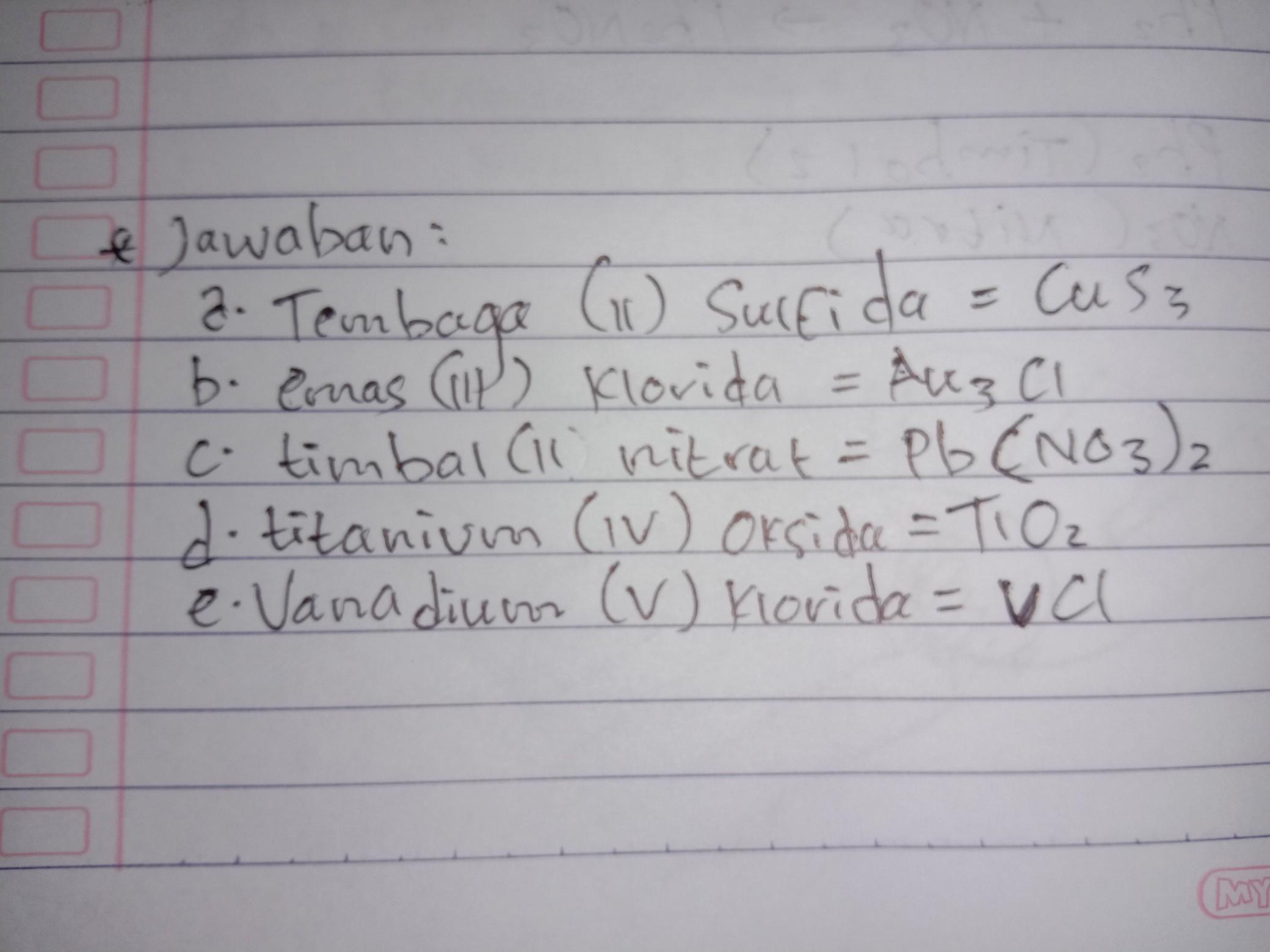 Tuliskan Rumus Kimia Dari Senyawa Berikut A Tembaga Ii Sulfida B Emas Iii Klorida C Timba Ii Brainly Co Id