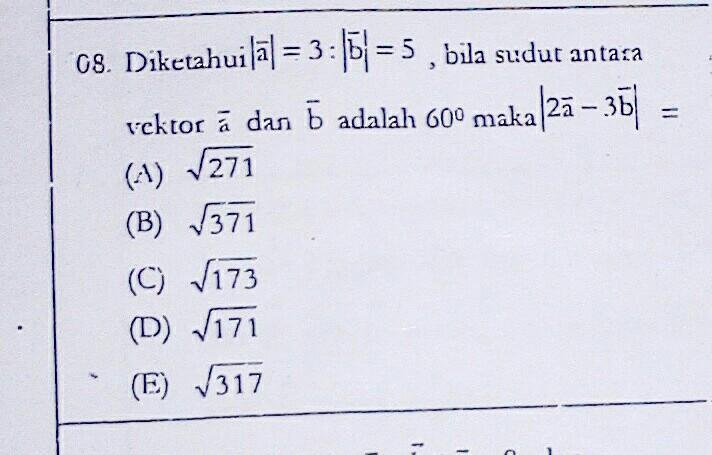 Diketahui panjang vektor a=3:panjang vektor b =5, bila ...