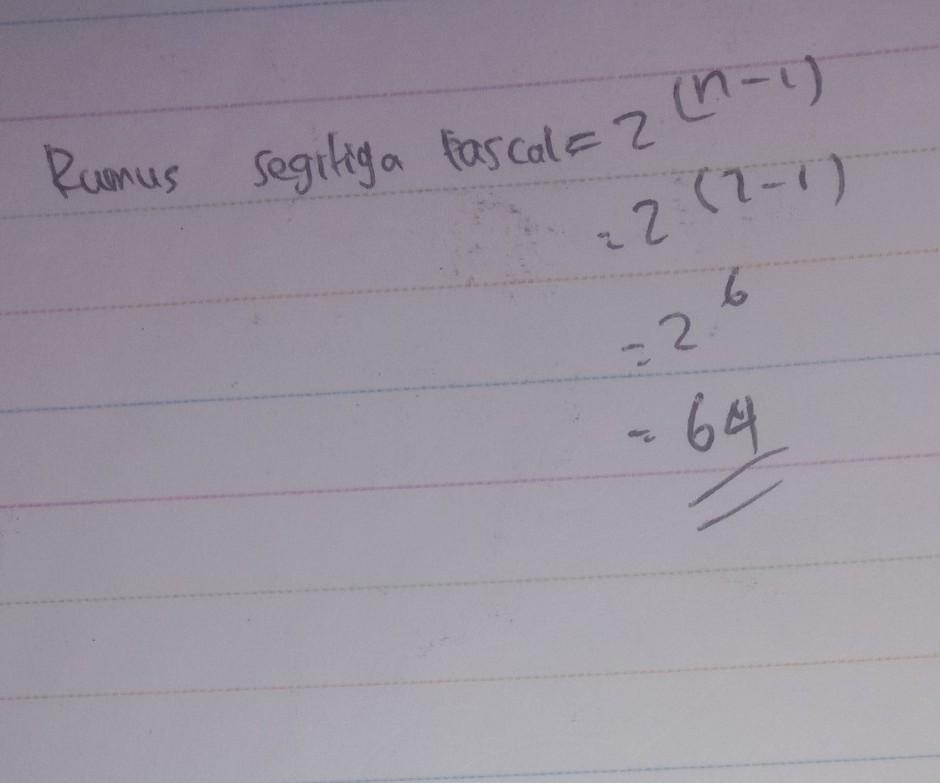 pola bilangan segitiga pascal 1,2,4,8,16,...jumlah ...