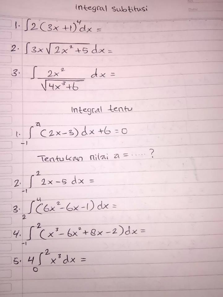 Tolong Soal Integral Tentu Brainly Co Id