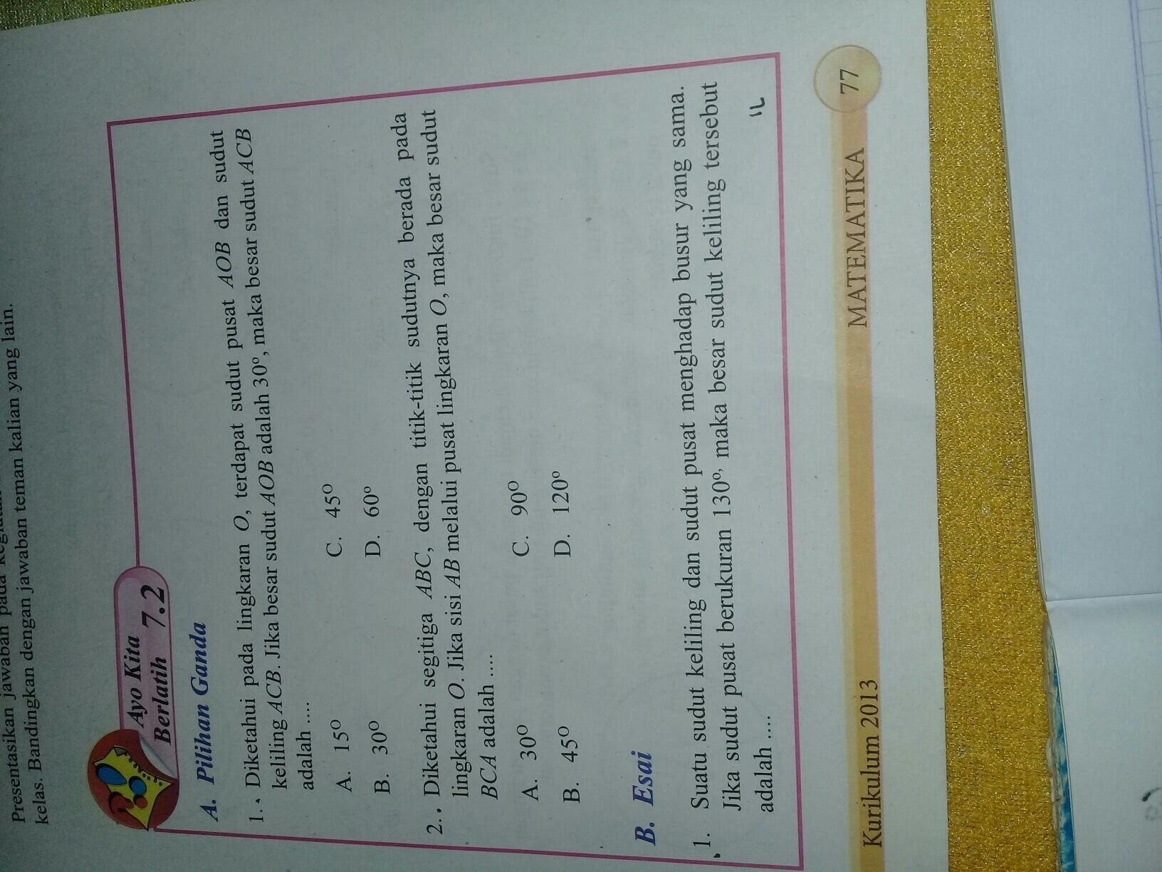 Jawaban Matematika Halaman 77 Kls 8 Semester 2 Brainly Co Id