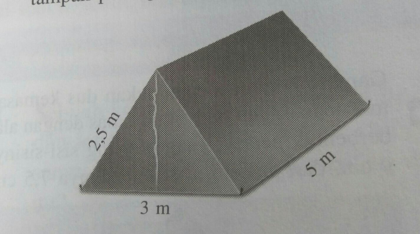 gambar berikut menunjukkan sebuah tenda berbentuk prisma ...