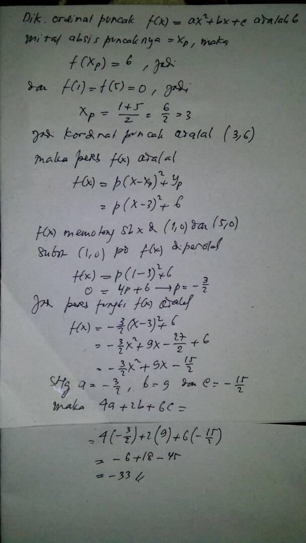 diketahui koordinat titik puncak fungsi kuadrat f(x) = ax2 ...
