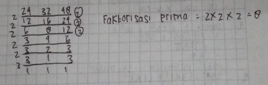 FPB dari bilangan 24,32, dan 48 dalam bentuk faktorisasi ...