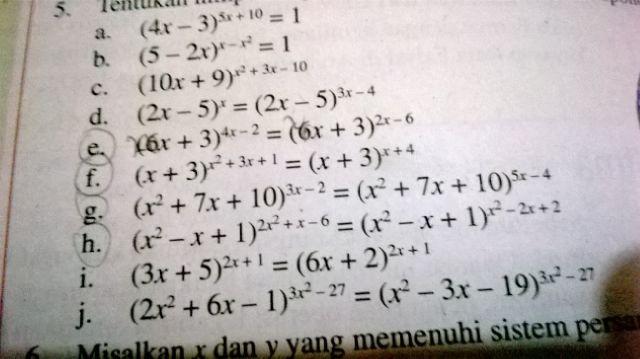 Soal Persamaan eksponen kelas 10 .. G+H - Brainly.co.id ab4b809ea9