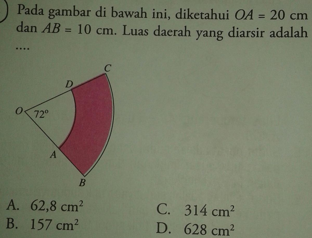 pada gambar dibawah ini diketahui oa 20 cm dan ab 10 cm luas rh brainly co id