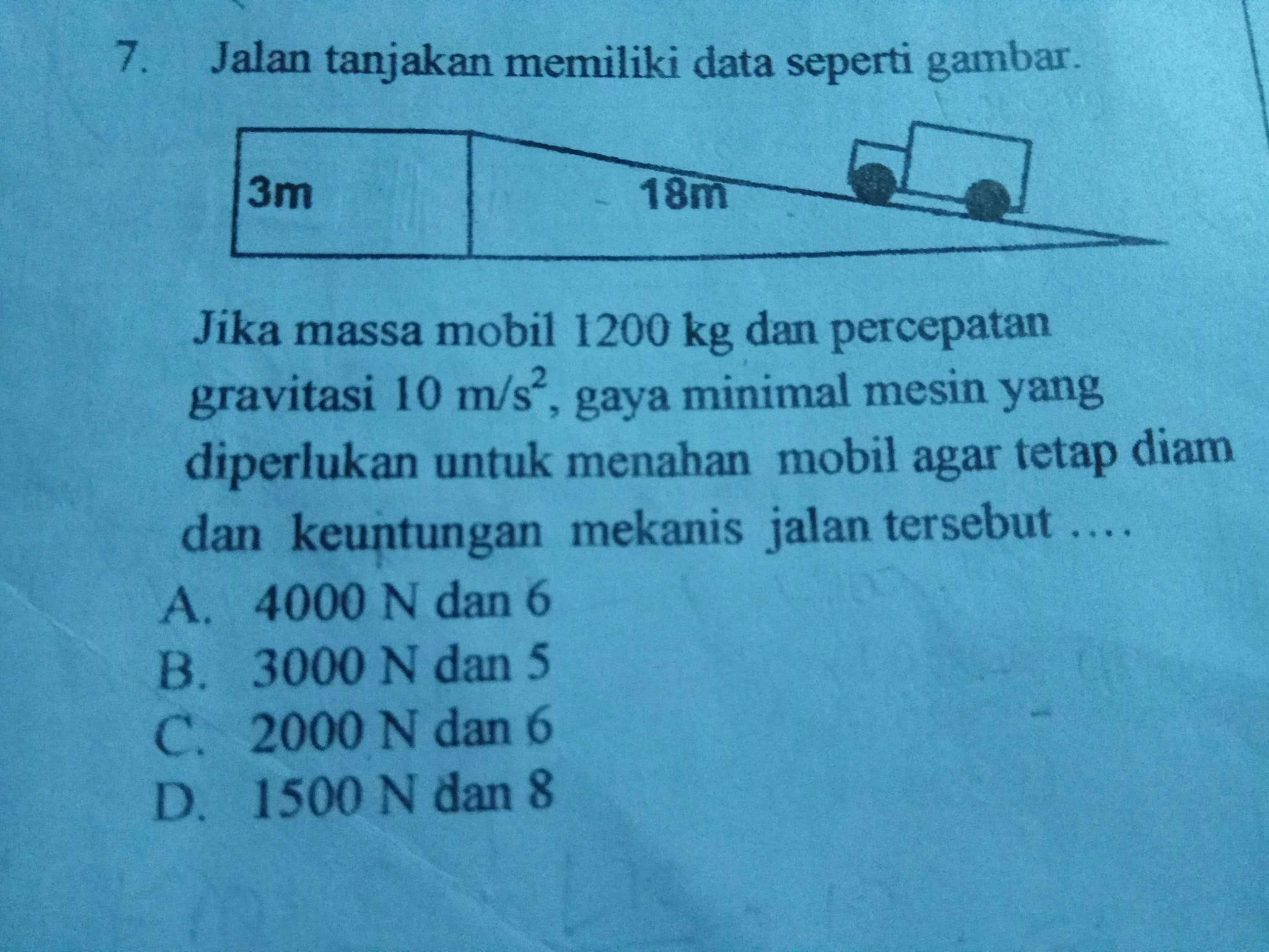 Jika massa mobil 1200 kg dan percepatan gravitasi 10 m/s² ...