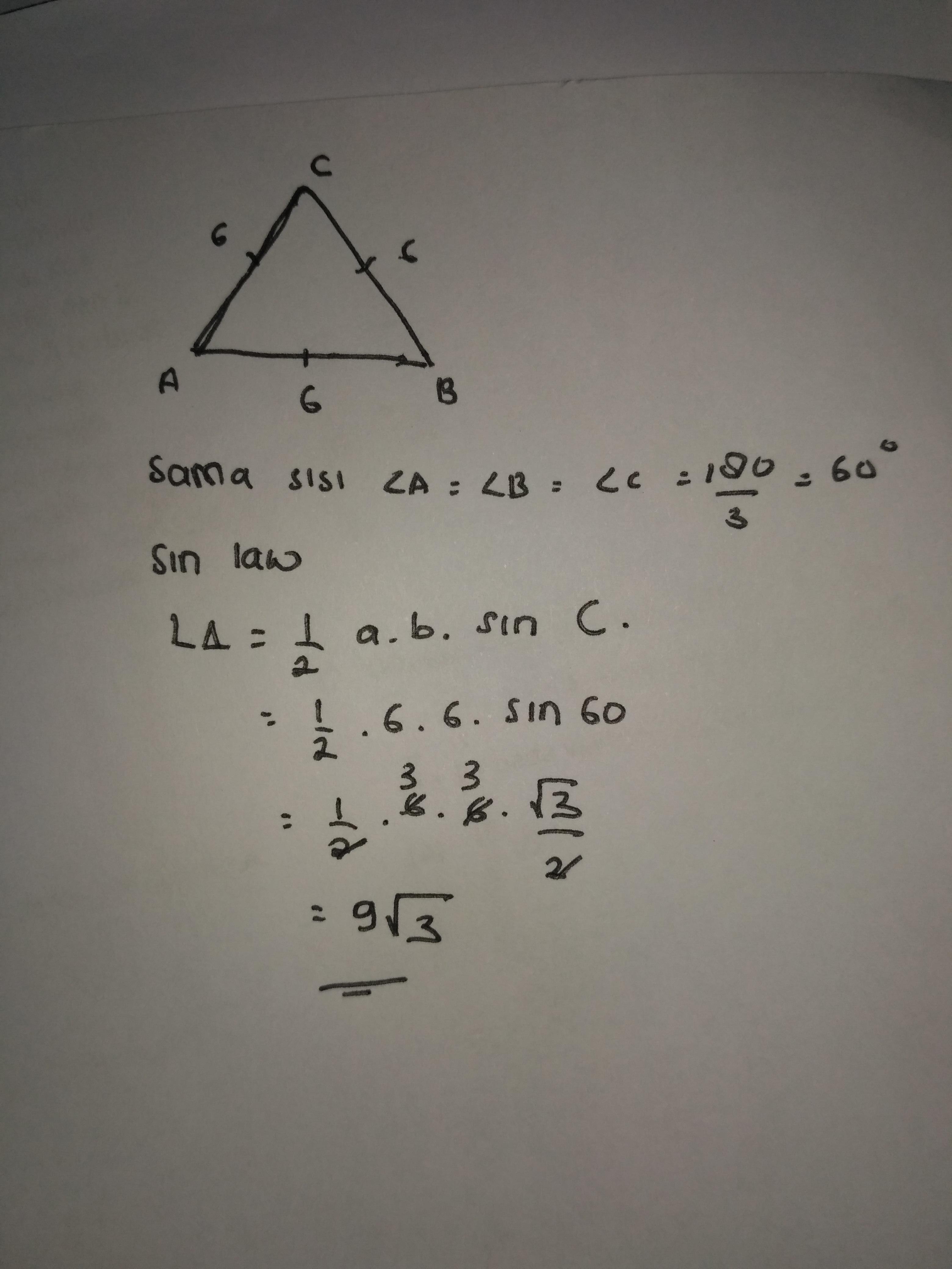 luas segitiga sama sisi yang memiliki panjang sisi 6 cm ...