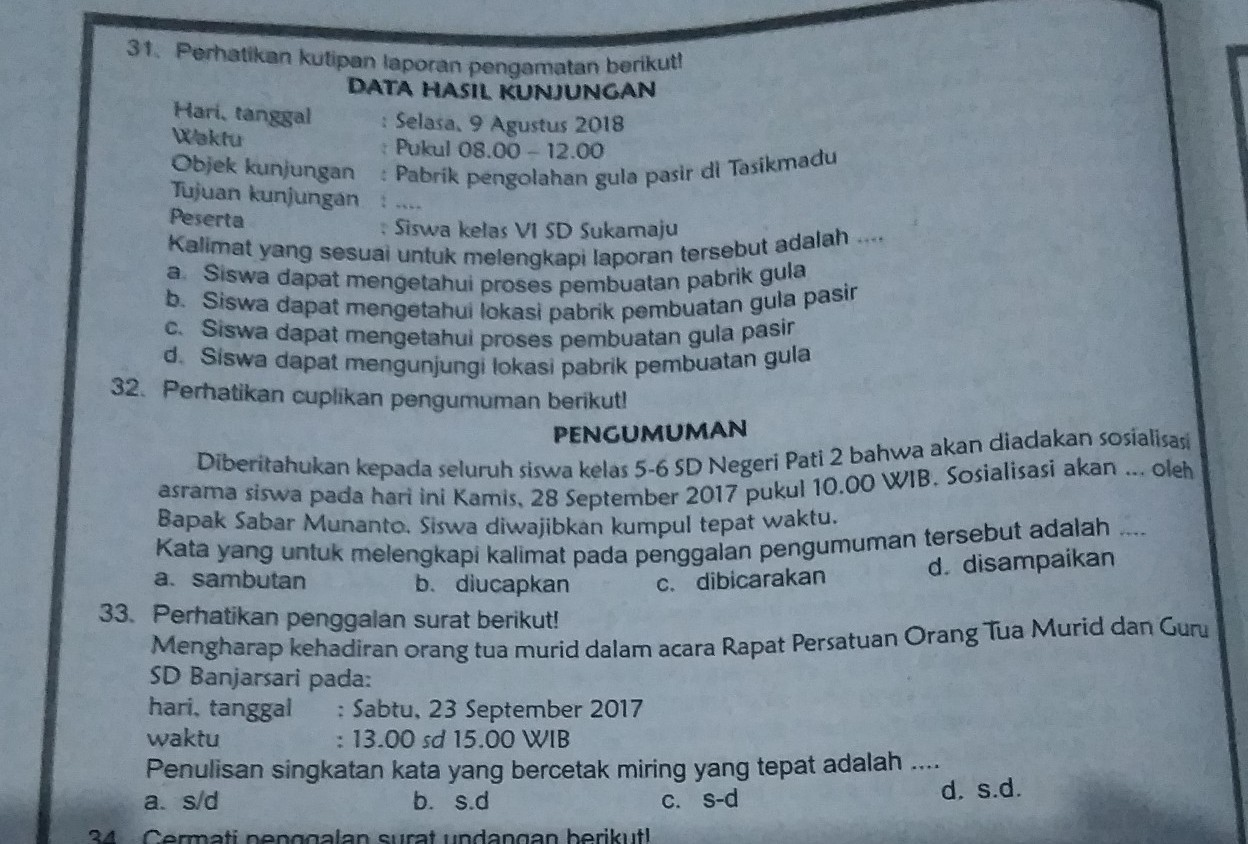 Tolong Dibantu Yanomor 31 Sampai 33 Brainly Co Id