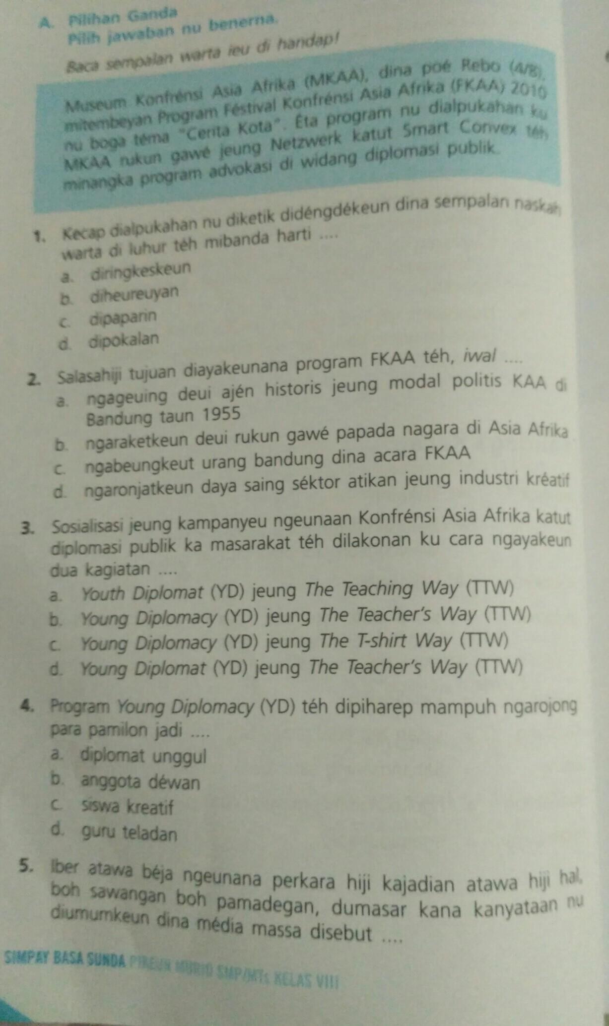 Bahasa Sunda Kelas 8 Uji Kompetensi Halaman 24 25 Brainly Co Id