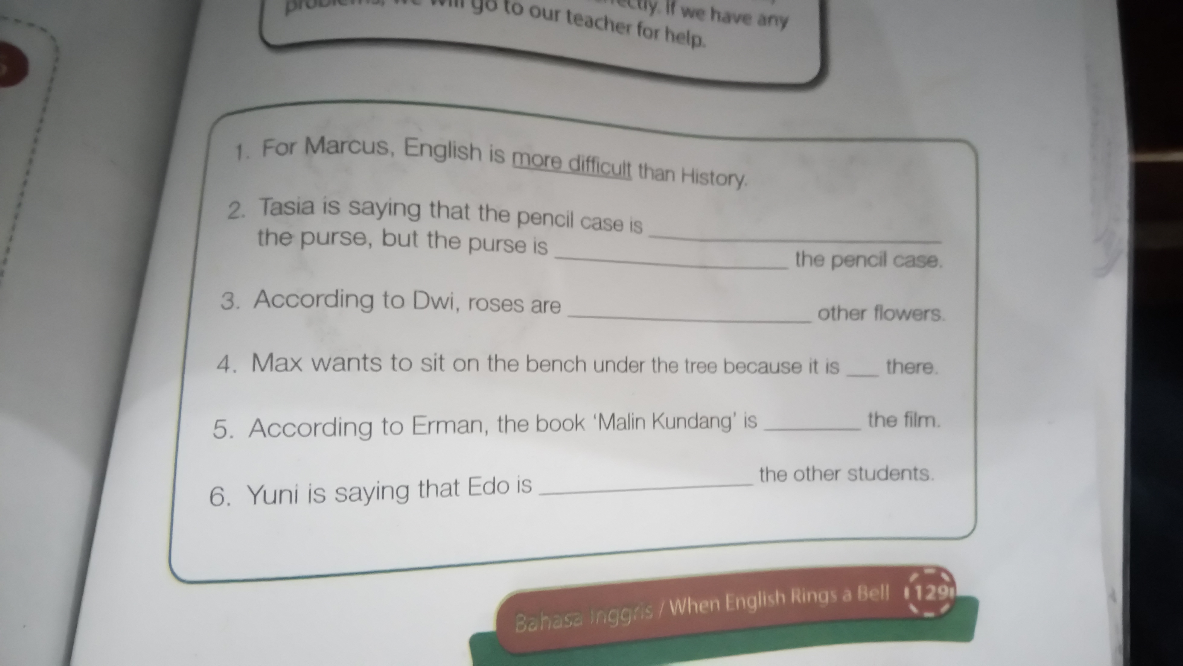 Tolong Dong Bahasa Inggris Kelas 8 Kurikulum 2013 Halaman 129 Pliss Tolong Bantu Ya Kk Brainly Co Id