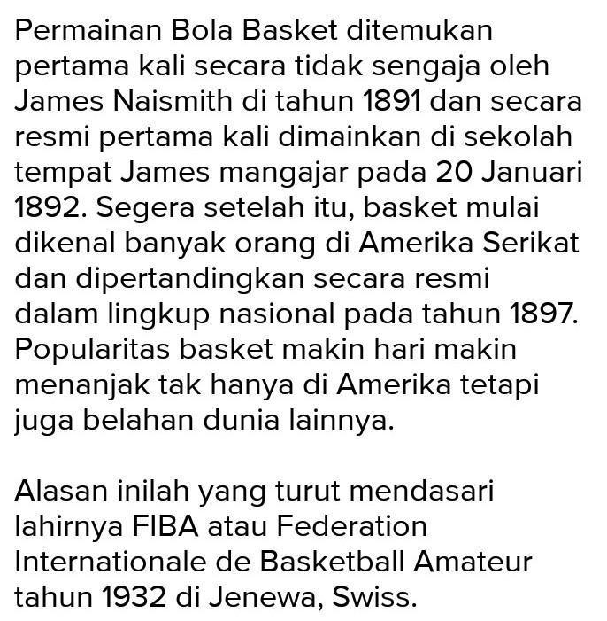 Sebutkan Sejarah Singkat Pemain Bola Basket Brainly Co Id