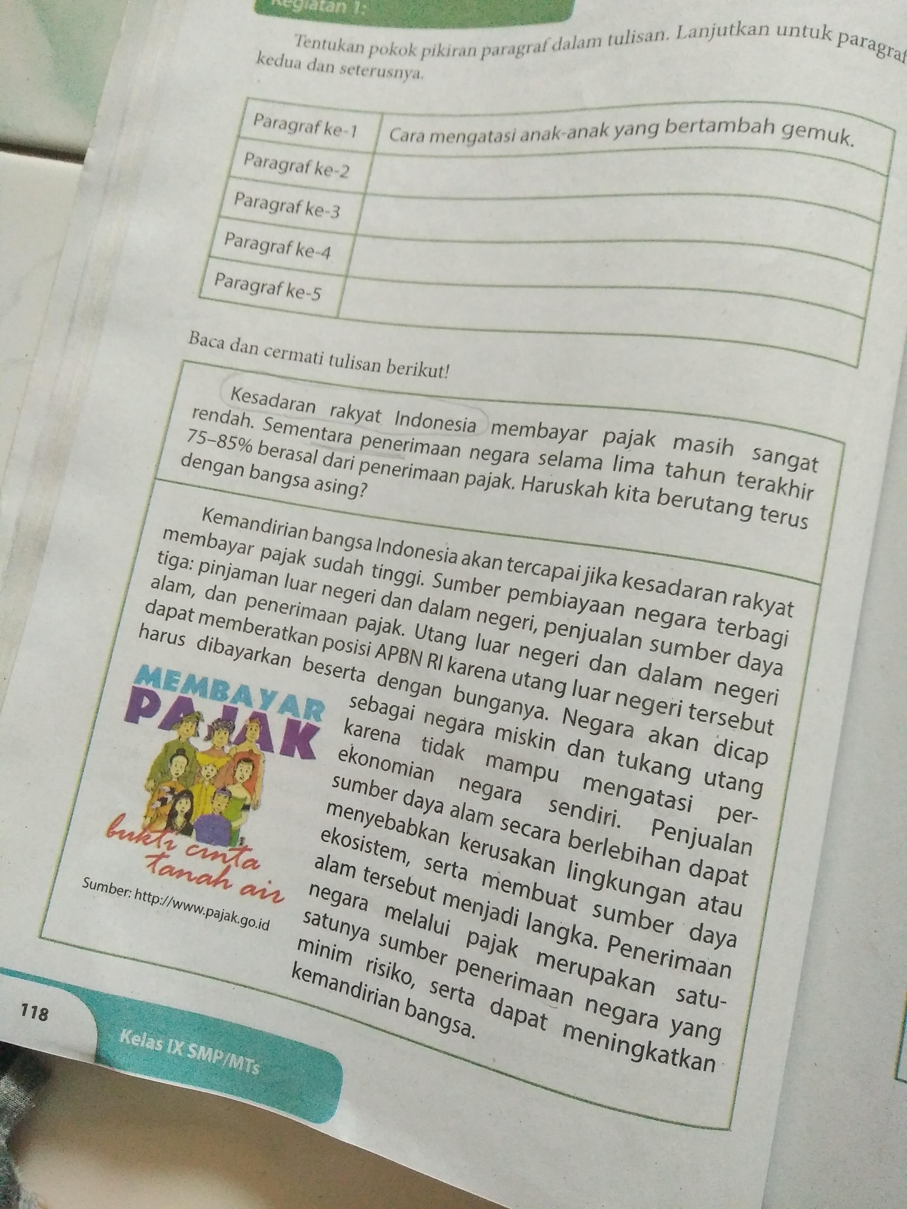 Kegiatan 2 Buku Paket B Indonesia Hal 118 120 Kelas Ix Tentukan Gagasan Utama Dan Kalimat Utama Brainly Co Id