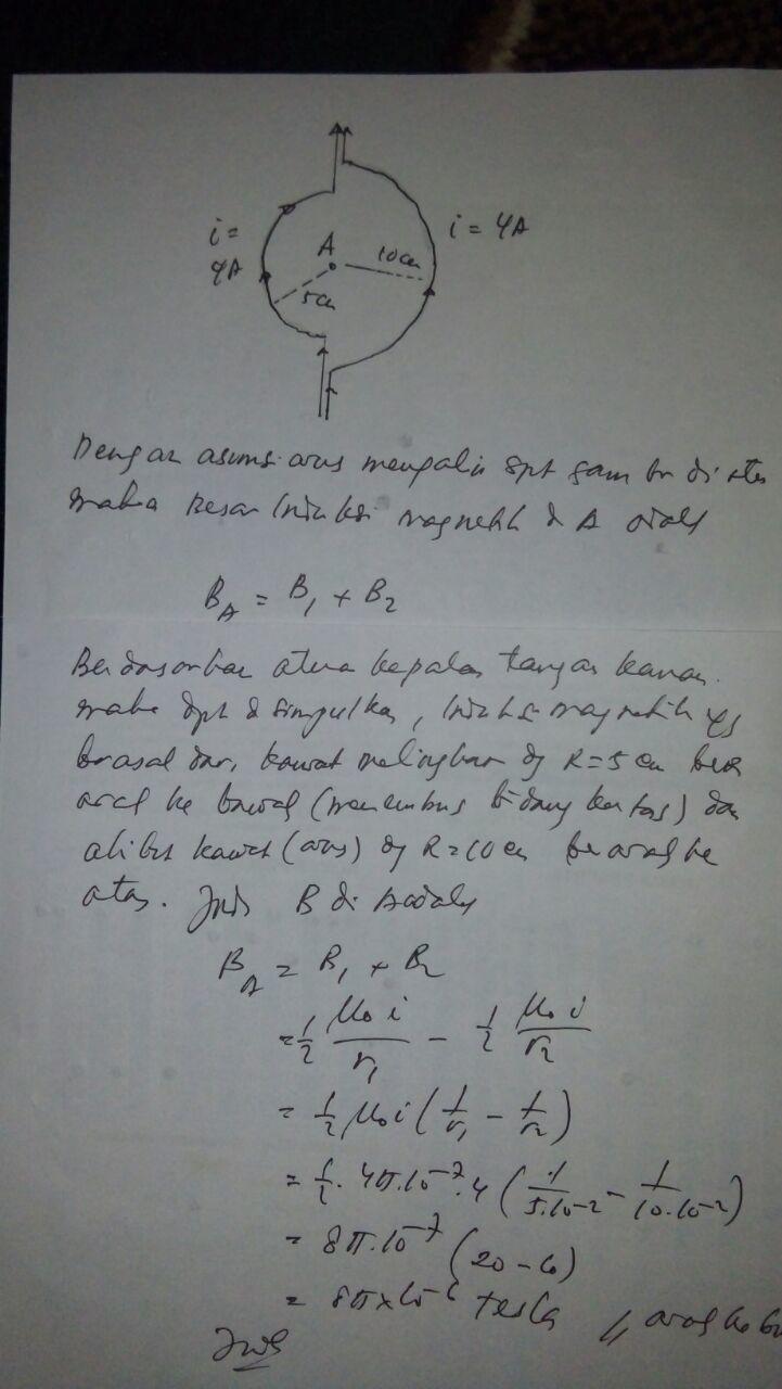 Tolong Yaa Dua Buah Konduktor Berbentuk Setengah Lingkaran Dengan Jari Jari A 5 Cm Dan B 10 Brainly Co Id
