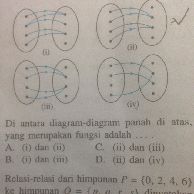 3di antara diagram diagram panah di atas yang merupakan fungsi di antara diagram diagram panah di atas yang merupakan fungsi adalah a i dan ii b i dan iii c ii dan iii d ii dan iv plis jawab ya ccuart Images